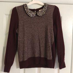 J. Crew burgundy bejeweled sweater